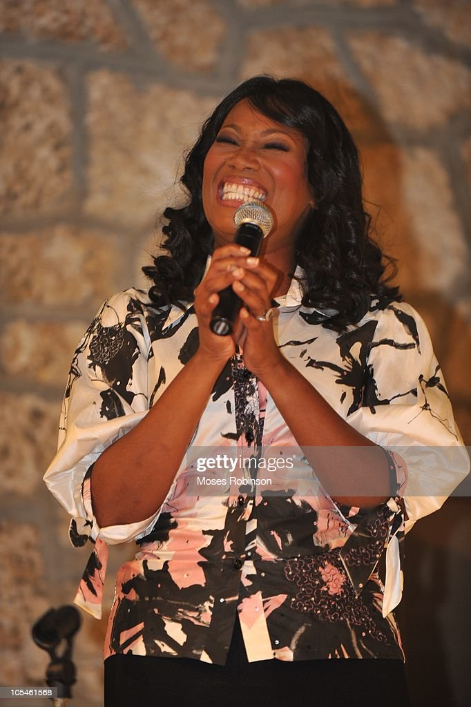 Gospel singer <a gi-track='captionPersonalityLinkClicked' href=/galleries/search?phrase=Yolanda+Adams&family=editorial&specificpeople=206858 ng-click='$event.stopPropagation()'>Yolanda Adams</a> sings at Alem Gola and Oscar Joyner Wedding Ceremony on October 9, 2010 in Miami, Florida.