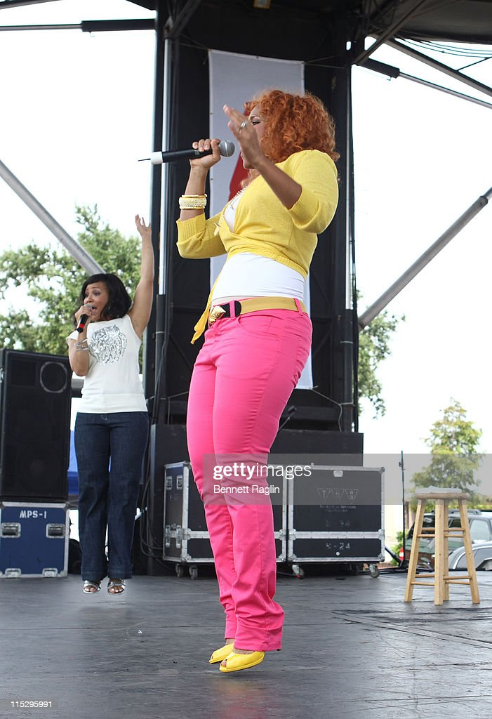 Gospel singers Erica Campbell and Tina Campbell of Mary Mary perform at WalMart during the 2008 Essence Music Festival on July 6 2008 in New Orleans...