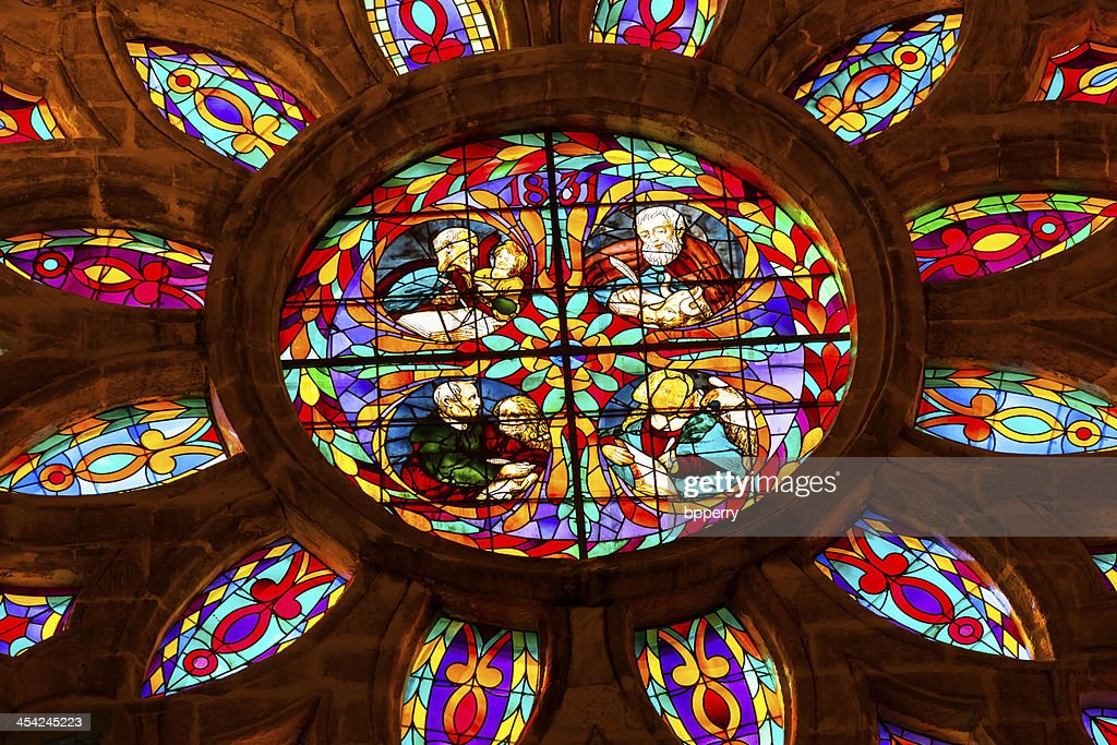 Gospel Writers Stained Glass Seville Cathedral Spain : Stock Photo