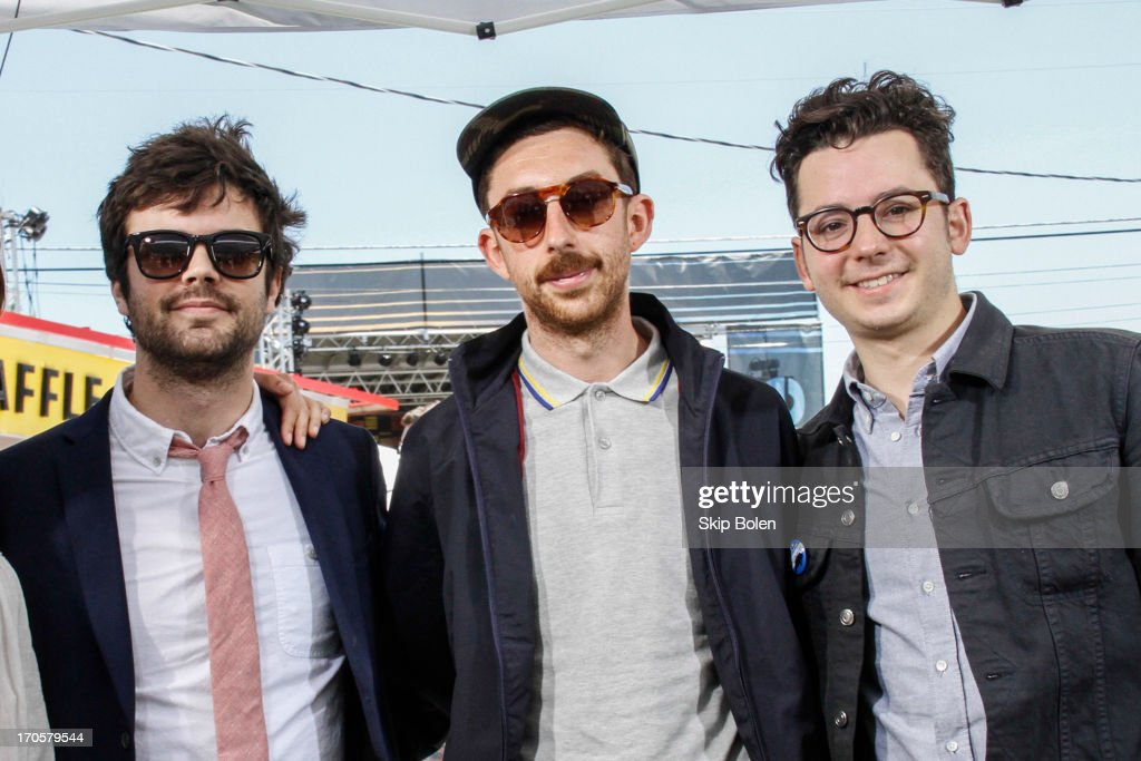 Gossamer Strains, Xander Singh and Nate Donmoyer of Passion Pit at the Fuse News Waffle House during the 2013 Bonnaroo Music & Arts Festival on June 14, 2013 in Manchester, Tennessee.