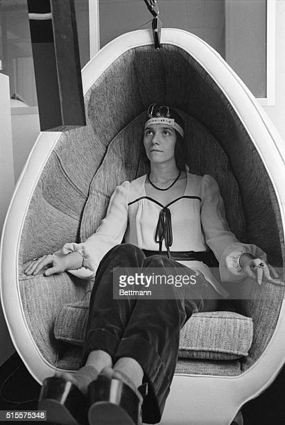 Got a headacheRelax as Joanna Spilman is doing while watching monitor of a biofeedback machine enabling her to see and hear tension levels in her...