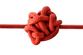 Knotted Red Rope on White.