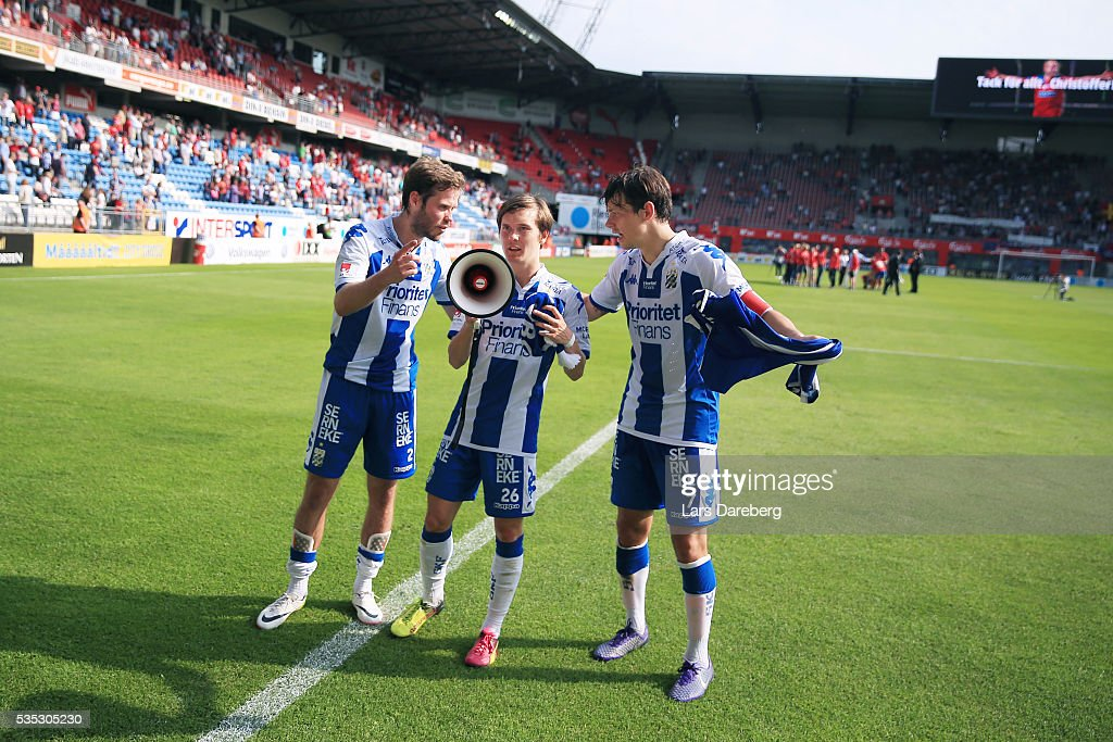 IFK Goteborg, here with Emil Salomonsson of IFK Goteborg and Patrik Karlsson Lagemyr of IFK Goteborg and Mads Albaek of IFK Goteborg after the Allsvenskan match between Helsingborgs IF and IFK Goteborg at Olympia on May 29, 2016 in Helsingborg, Sweden.