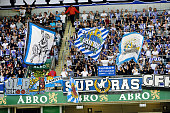 Goteborg team fans before the Swedish Allsvenskan League match between IFK Goteborg and Helsingborg at the Gamla Ullevi Stadium on July 6 2014 in...
