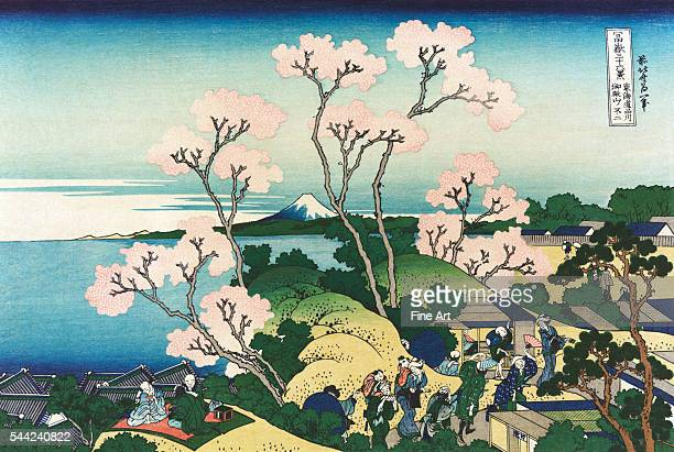 Gotenyama Hill at Shinagawa on the Tokaido from the ukiyoe series '36 Views of Mt Fuji' Color woodblock print Circa 1830 Private collection