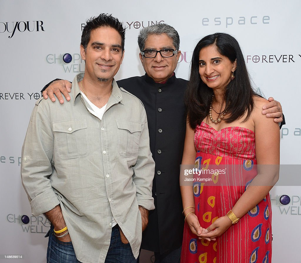 Gotham Chopra, <a gi-track='captionPersonalityLinkClicked' href=/galleries/search?phrase=Deepak+Chopra&family=editorial&specificpeople=684107 ng-click='$event.stopPropagation()'>Deepak Chopra</a> and Mallika Chopra attend The Chopra Well Launch Event at Espace on July 18, 2012 in New York City.