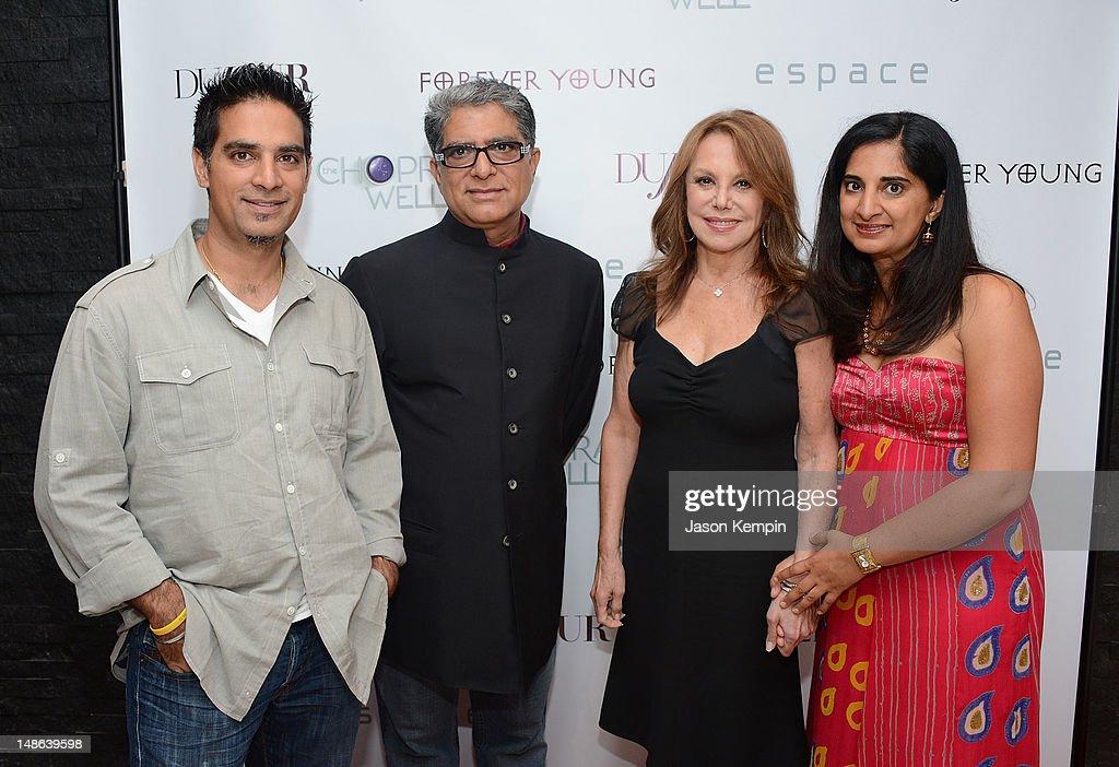 Gotham Chopra, Deepak Chopra, Marlo Thomas and Mallika Chopra attend The Chopra Well Launch Event at Espace on July 18, 2012 in New York City.
