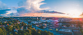 A panoramic photo of Gothenburg city in Sweden. Aerial shot taken during sunset on a beautiful summer evening.