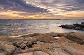 Sunset at coastline of Gothenburg, Sweden