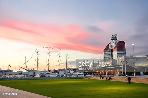 Gothenburg harbor with beautiful red clouds