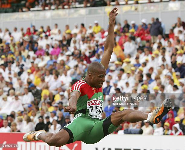 Portugal's Nelson Evora competes during the Men's Long Jump at the 19th European Athletics Championships in Gothenburg Sweden 08 August 2006 AFP...
