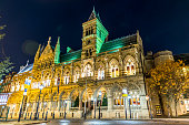 Gothic architecture of Northampton Guildhall building. England.