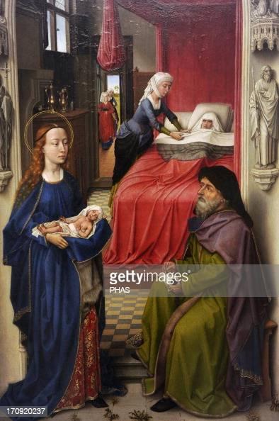 Gothic Art Flanders Rogier van der Weyden or Roger de la Pasture Early Flemish painter Saint John the Baptist Altarpiece 14551460 Left panel The...