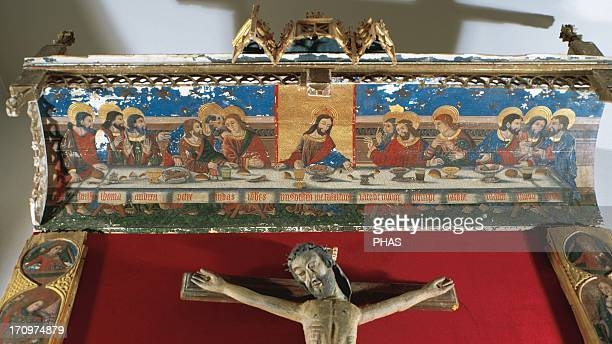 Gothic Art Spain The Last Supper Buisan canopy Tempera painting on supports coated with the name of the Apostles in Gothic script It comes from the...