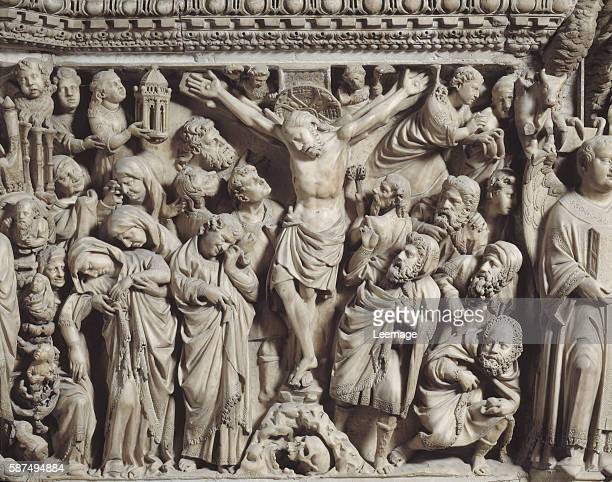 The Crucifixion Detail of the carved relief of the marble pulpit by Nicola Pisano 12661268 Siena Cathedral Italy