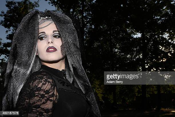 Gothic enthusiast poses during the annual WaveGotikTreffen music festival on June 6 2014 in Leipzig Germany The event began in the 1990s and has...