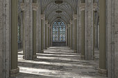 Gorgeous view of gothic hall interior 3d CG illustration