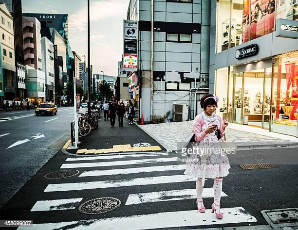 ゴシック様式の Lolita ガールに原宿、東京、日本