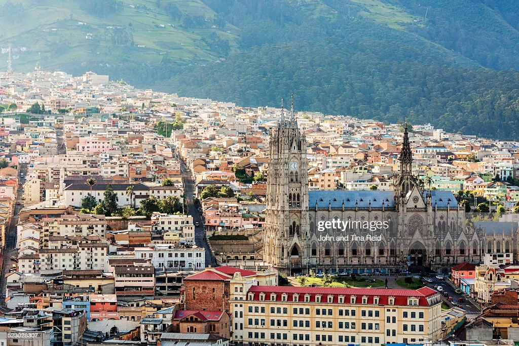 The Basilica of the National Vow surrounded by the Quito Old Town in Ecuador.