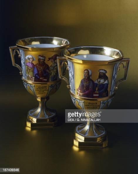Gothicstyle dessert cups made for the Imperial Castle of Laxenburg 18211824 ceramic Austria 19th century Vienna Hofsilber Und Tafelkammer