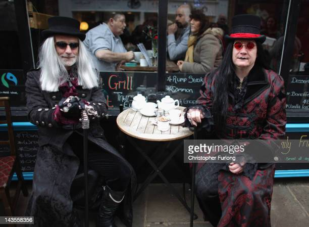 Goths take a tea break during the Whitby Goth Weekend on April 28 2012 in Whitby England Whitby Gothic Weekend which started in 1994 to celebrate all...