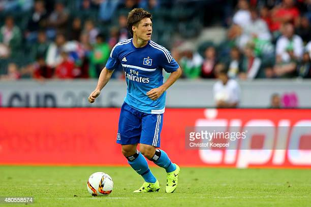 Gotoku Sakai during the Telekom Cup 2015 final match between Hambruger SV and FC Augsburg at BorussiaPark on July 12 2015 in Moenchengladbach Germany
