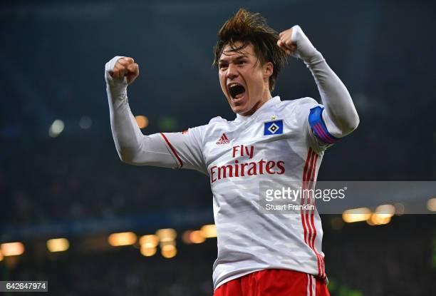 Gotoku Sakai of Hamburg celebrates his teams second goal during the Bundesliga match between Hamburger SV and SC Freiburg at Volksparkstadion on...