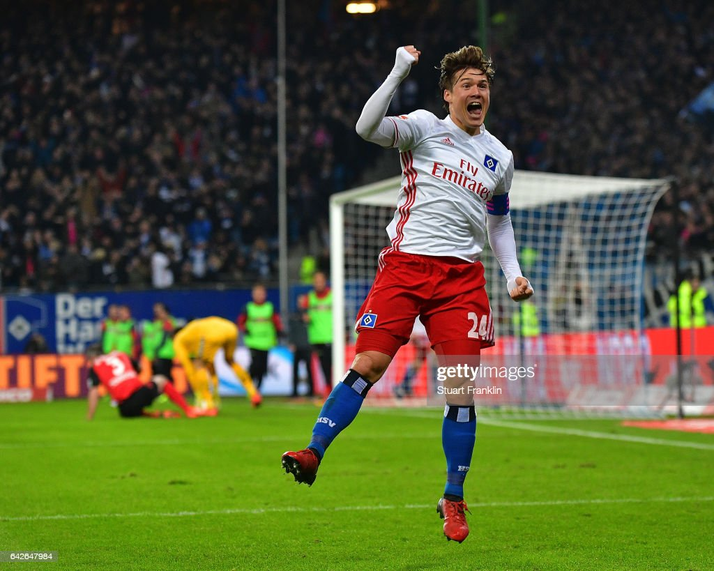Gotoku Sakai of Hamburg celebrates his teams second goal during the Bundesliga match between Hamburger SV and SC Freiburg at Volksparkstadion on February 18, 2017 in Hamburg, Germany.