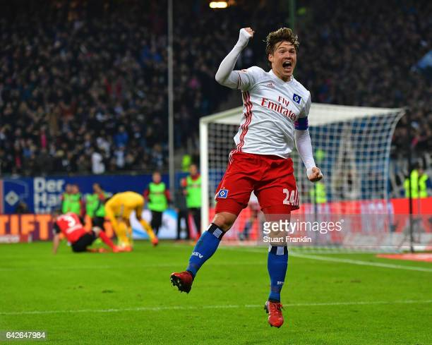 Gotoku Sakai of Hamburg celebrates his teams second goal during the Bundesliga match between Hamburger SV and SC Freiburg at Volksparkstadion on...