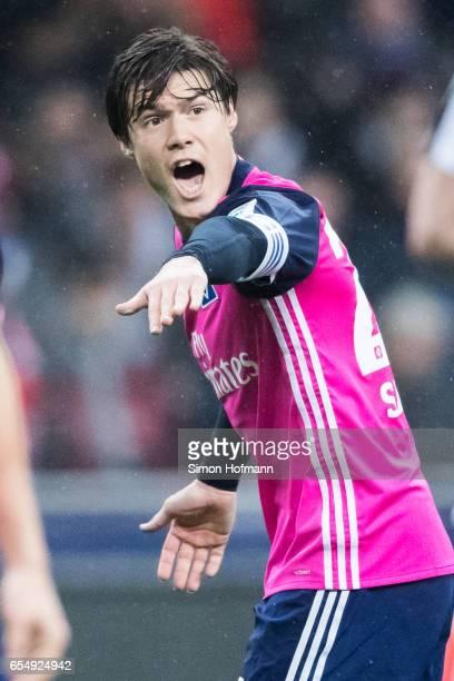 Gotoku Sakai of Hamburg gestures during the Bundesliga match between Eintracht Frankfurt and Hamburger SV at CommerzbankArena on March 18 2017 in...