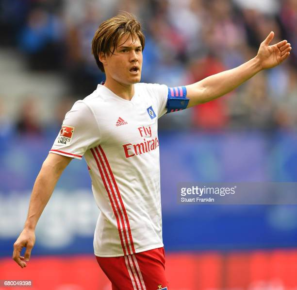 Gotoku Sakai of Hamburg looks dejected during the Bundesliga match between Hamburger SV and 1 FSV Mainz 05 at Volksparkstadion on May 7 2017 in...