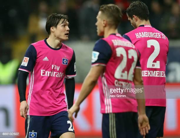 Gotoku Sakai of Hamburg reacts during the Bundesliga match between Eintracht Frankfurt and Hamburger SV at CommerzbankArena on March 18 2017 in...