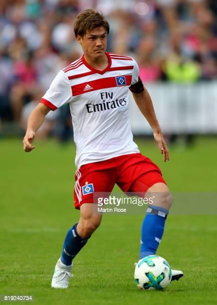 Gotoku Sakai of Hamburg runs with the ball during the preseason friendly match between Holstein Kiel and Hamburger SV at GruemmiArena on July 19 2017...