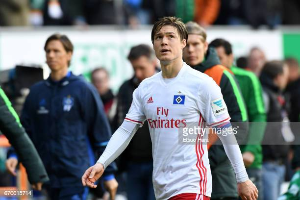 Gotoku Sakai of Hamburger SV in action during the Bundesliga match between Werder Bremen and Hamburger SV at Weserstadion on April 16 2017 in Bremen...