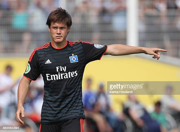 Gotoku Sakai of Hamburger SV reacts during the First Round of DFBCup between FC Carl Zeiss Jena and Hamburger SV at ErnstAbbeSportfeld on August 09...