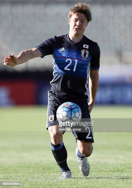 Gotoku Sakai of Japan in action during the FIFA World Cup Russia Asian Final Qualifier match between Iraq and Japan at PAS Stadium on June 13 2017 in...