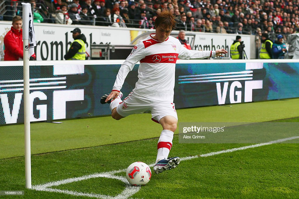 Gotoku Sakai of Stuttgart shoots a corner during the Bundesliga match between Eintracht Frankfurt and VfB Stuttgart at Commerzbank-Arena on March 17, 2013 in Frankfurt am Main, Germany.