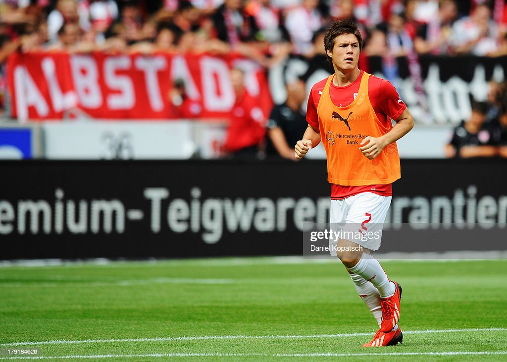 Gotoku Sakai of Stuttgart warms up prior to the Bundesliga match between VfB Stuttgart and 1899 Hoffenheim at Mercedes-Benz Arena on September 1, 2013 in Stuttgart, Germany.