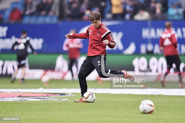 Gotokus Sakai of Hamburger SV warms up prior to kickoff during the Bundesliga match between Hamburger SV and Bayer Leverkusen at Volksparkstadion on...