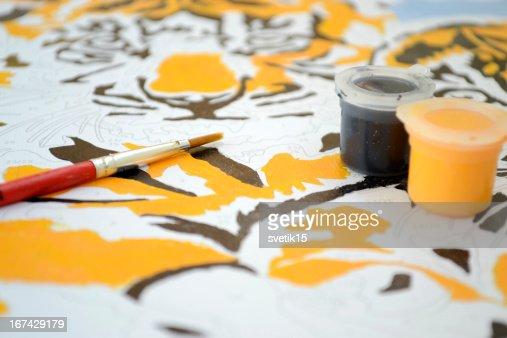 gouache pintura : Foto de stock