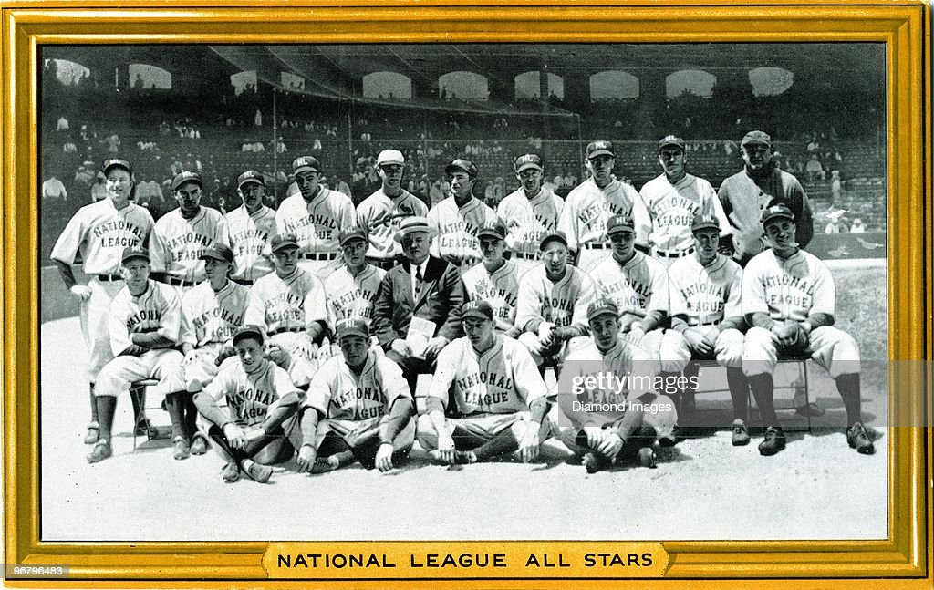 A Goudey Gum premium photo shows members of the National League All-Star team posed for a group portrait prior to the first Major League Baseball All-Star Game on July 6, 1933 against the American League All-Star team at Comiskey Park in Chicago, Illinois. Those pictured include (L to R) (seated in front) batboy Hasbrook, Pepper Martin, Lon Warneke, Tony Cuccinello; (second row) Bill Hallahan, Dick Bartell, Bill Terry, Bill McKechnie, manager John McGraw, Max Carey, Chick Hafey, Chuck Klein, Lefty O'Doul, Wally Berger; (back row) Leo 'Gabby' Hartnett, Jimmie Wilson, Frankie Frisch, Carl Hubbell, Bill Walker, Paul Waner, Woody English, Hal Schumacher, Harold 'Pie' Traynor and trainer Andy Lotshaw.