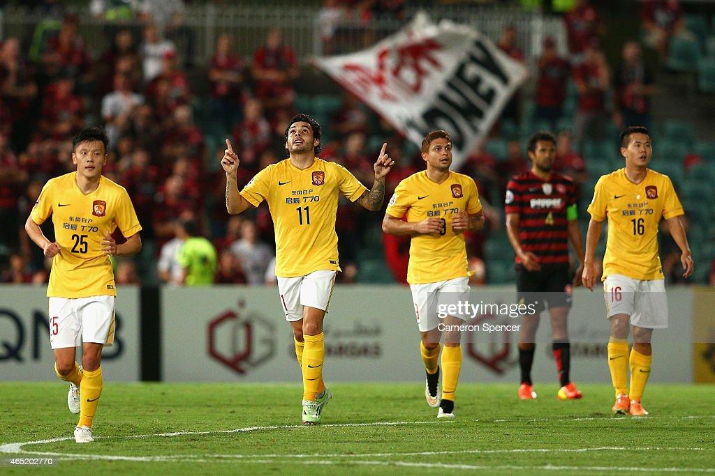 Goulart Pereira of Guangzhou celebrates scoring a goal during the Asian Champions League match between the Western Sydney Wanderers and Guangzhou...