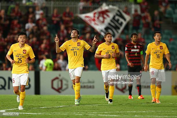 Goulart Pereira of Guangzhou celebrates scoring a goal during the Asian Champions League match between the Western Sydney Wanderers and Guangzhou...