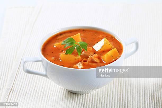 Goulash soup in a bowl