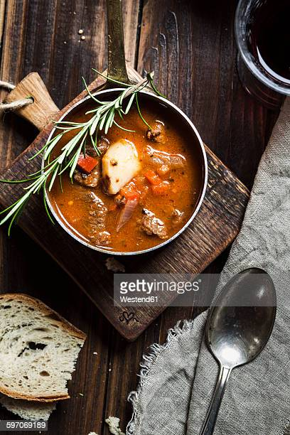 Goulash soup with Mediterranean herbs and potatoes