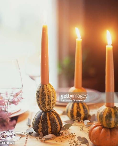 Gourds as candle holders