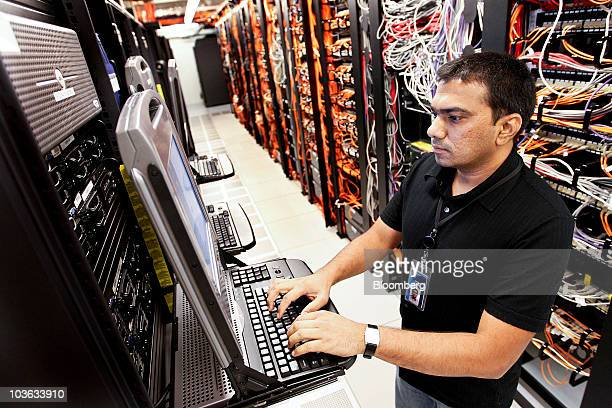 Gouri Mulaka a senior lab systems engineer for Symantec Corp works on network servers at the company's headquarters in Mountain View California US on...