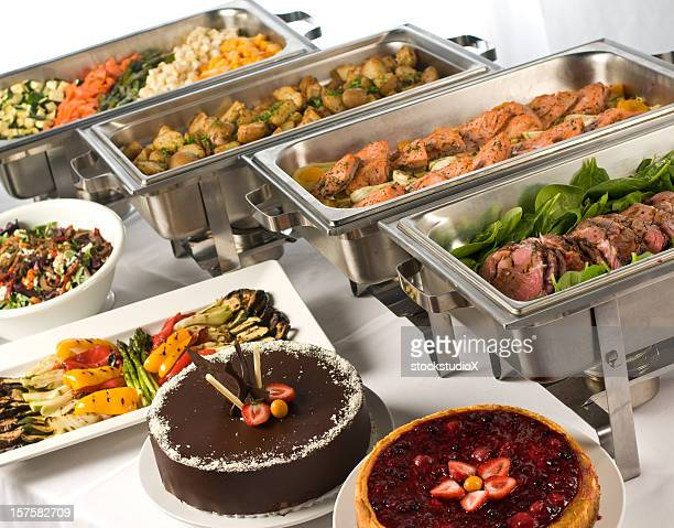 Gourmet buffet with hot and cold dishes