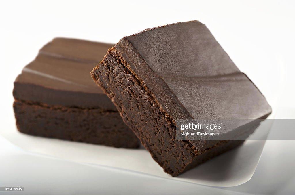 Gourmet Chocolate Brownies on White