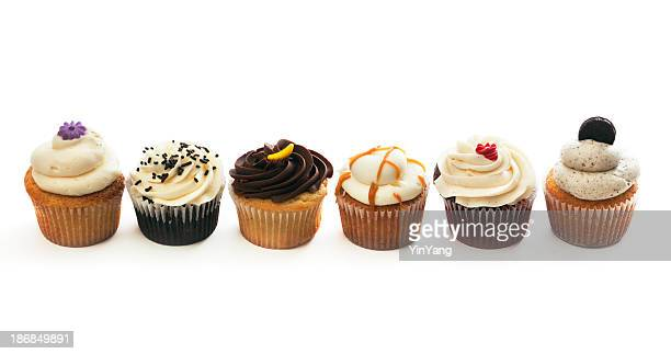 Gourmet Cupcakes Variety Selection Row, Sweet Cakes on White Background